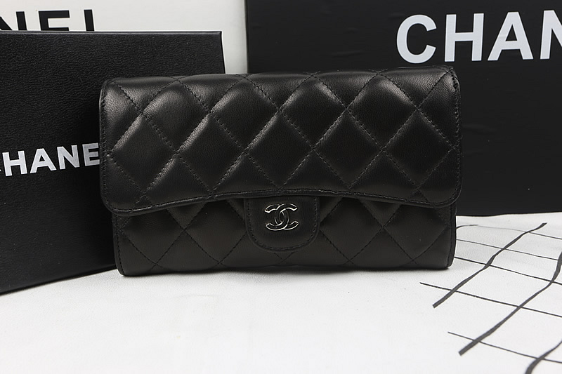 Chane Flap Long Wallet A31506 in Black Original Lambskin Leather with Silver Hardware