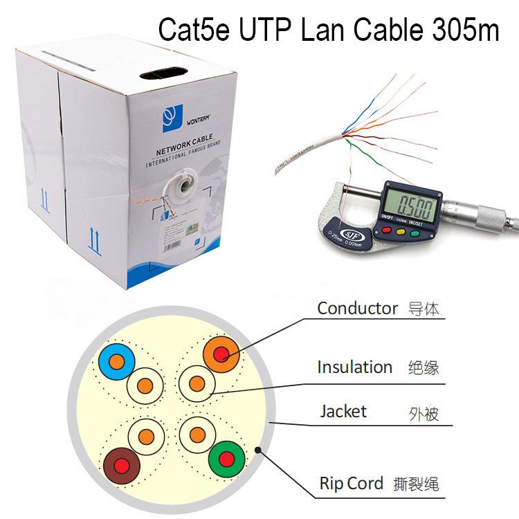 UTP Cat5e Network 4pair 24AWG PVC 305m/Roll