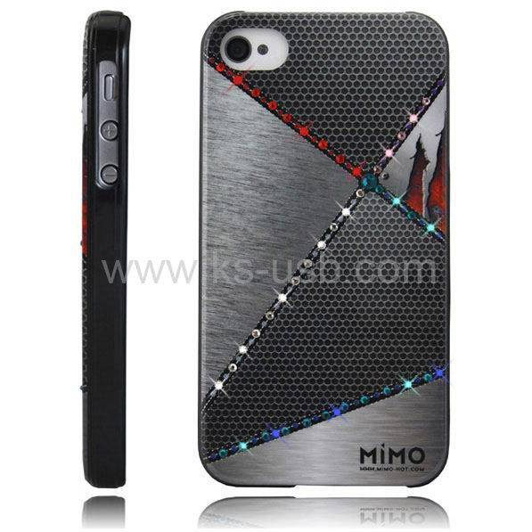 MiMO Series Metal Puzzle Pattern Handmade Diamond Encrusted Plastic Case for iPhone 4 & 4S