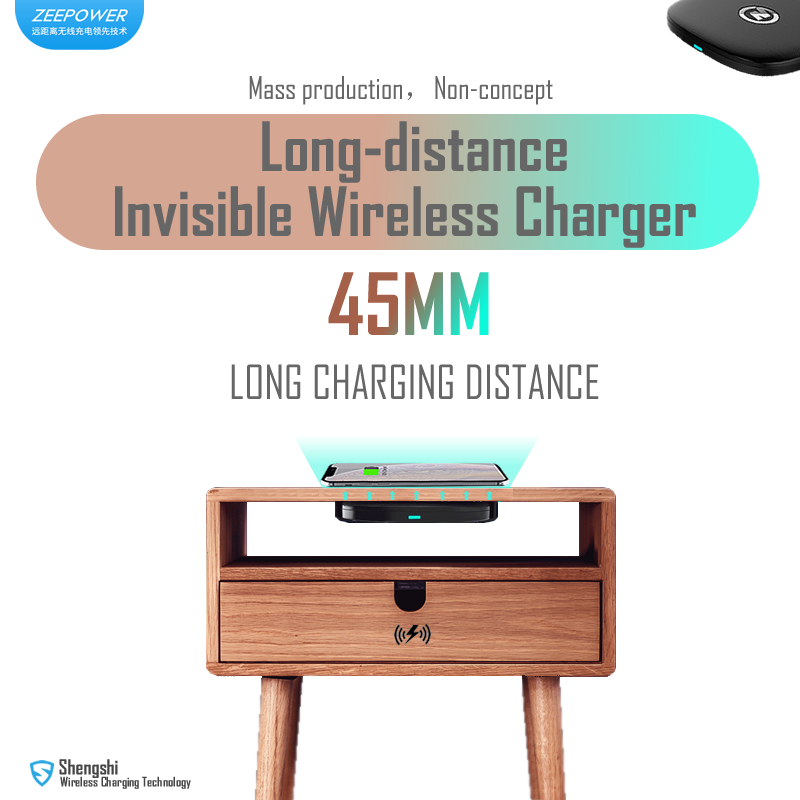 ZeePower-45mm Invisible Wireless Charger, Long distance Fast Wireless Charger