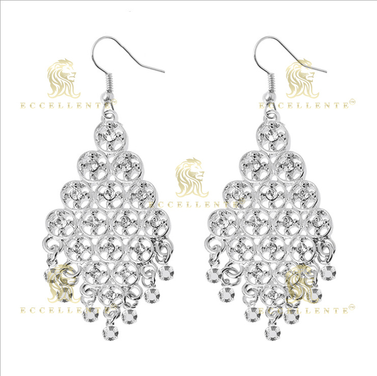 Fan Shaped Hollow Alloy Inlaid Diamond Earrings for Women