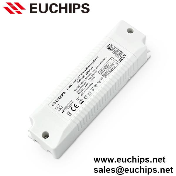 300/500/700mA 1 channel 20W 1-10V constant current dimmable LED driver EUP20A-1WMC-1