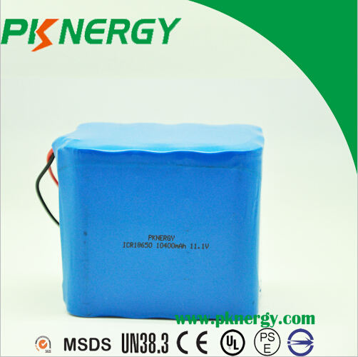 BIS certificated 10400mah 3s5p 11.1v ICR18650 lithium li-ion Rechargeable Battery Pack