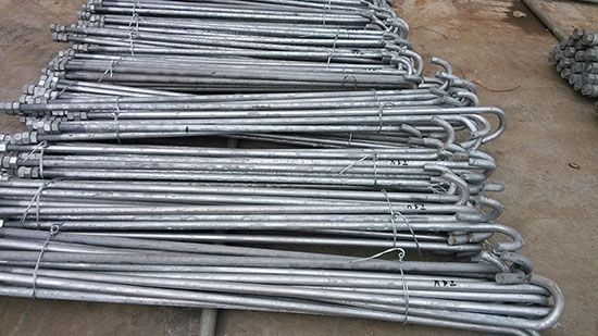 Hot dip galvanized high tensile anchor bolts for lattice telecommunication steel tower