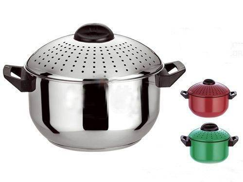 Stainless Steel Pasta Pot with locking strainer lids