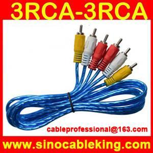 transparent foil 3rca to 3rca audio video cable