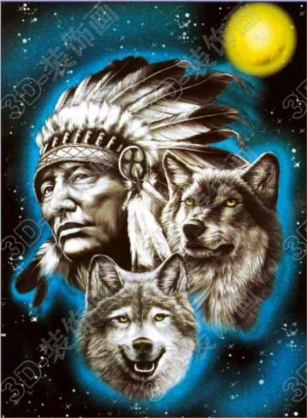 Indian hunter and wolf moon 3d lenticular poster moving picture