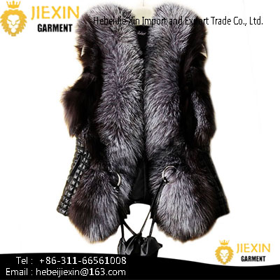 Custom Women Genuine Fur Waistcoat Whole Skin Real Fox Fur Vest