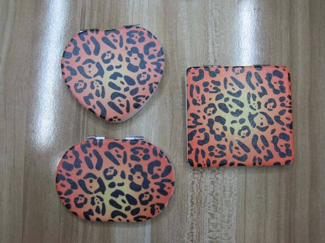 PU Leopard Printed Cosmetic Mirror