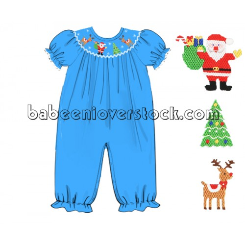 Christmas hand smocked girl bubble