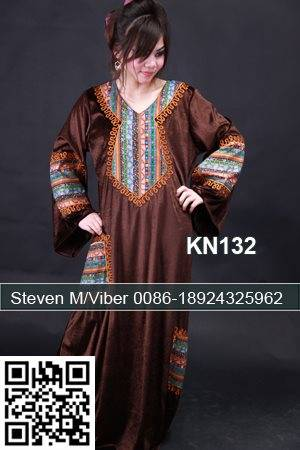 Brown Velvet Caftan Abaya Embroidery Plus Size Party Dresses