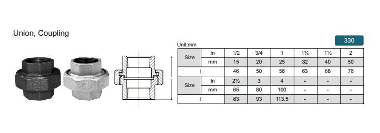 China malleable iron pipe fitting Union flat seat-330 with high quality and proper price