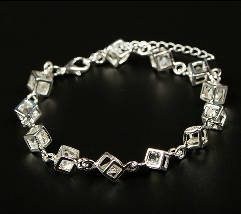 Fashion Jewelry Classic Style 925 Silver 3D Square Chain Bracelet