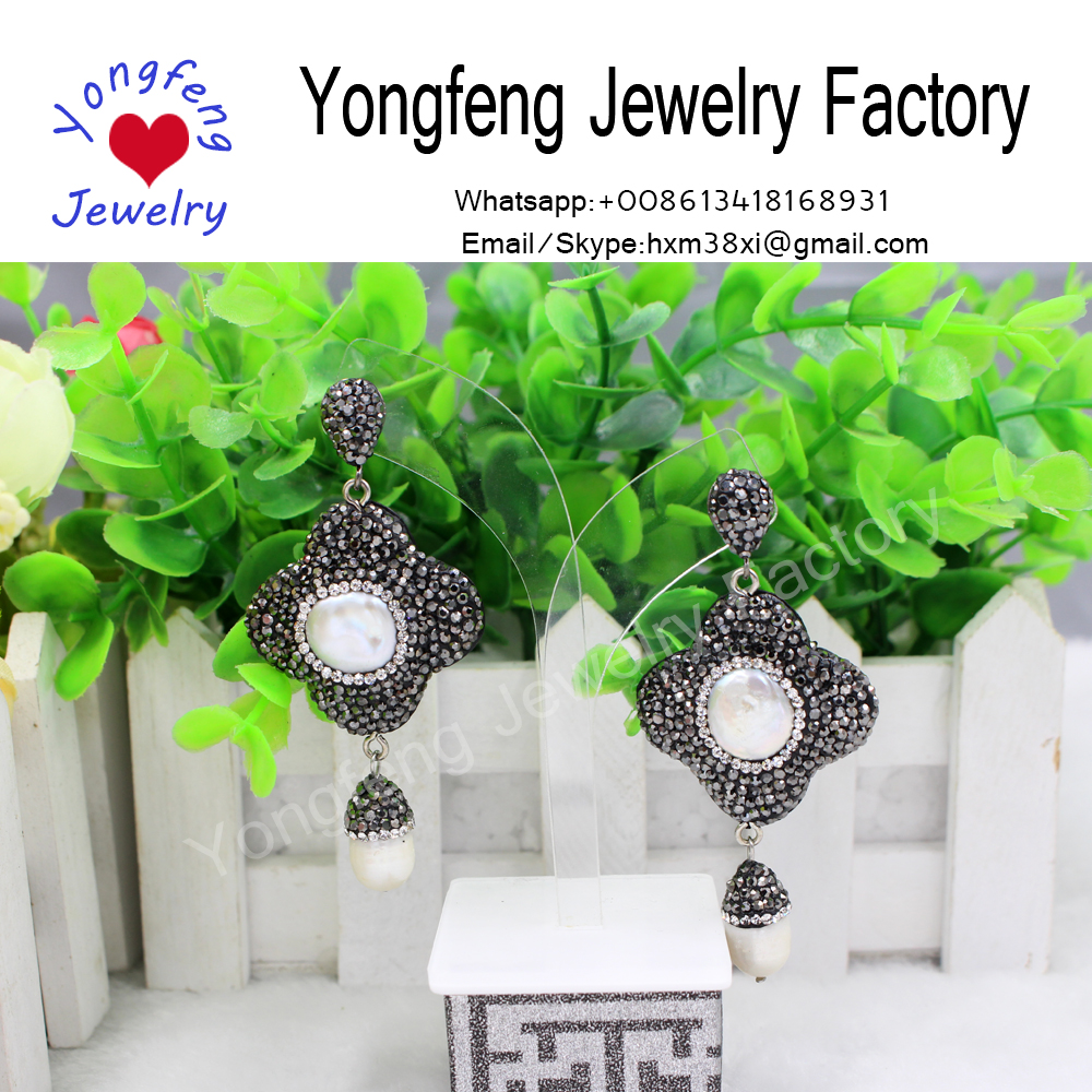 wholesale handmade flower rhinestone and pearl earrings,water-drop pearls dangle earrings