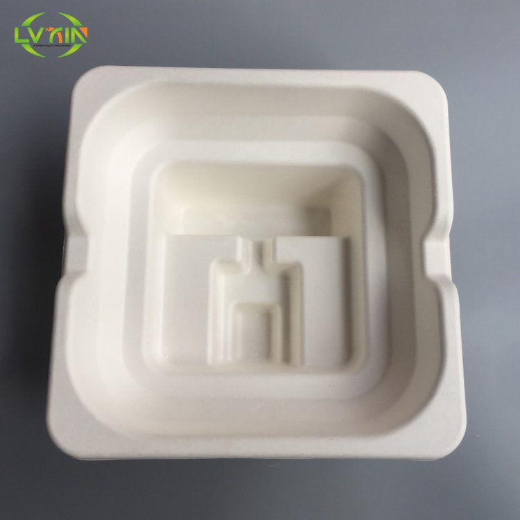 Printable customized electronic packaging tray molded pulp