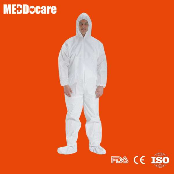Sell white disposable PP coveralls with hood with boots