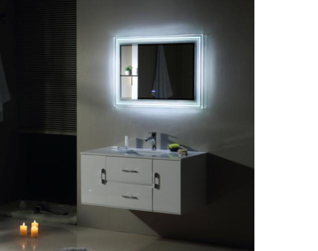New style PVC bathroom vanity, modern art style with intelligent mist removing mirror, countertop
