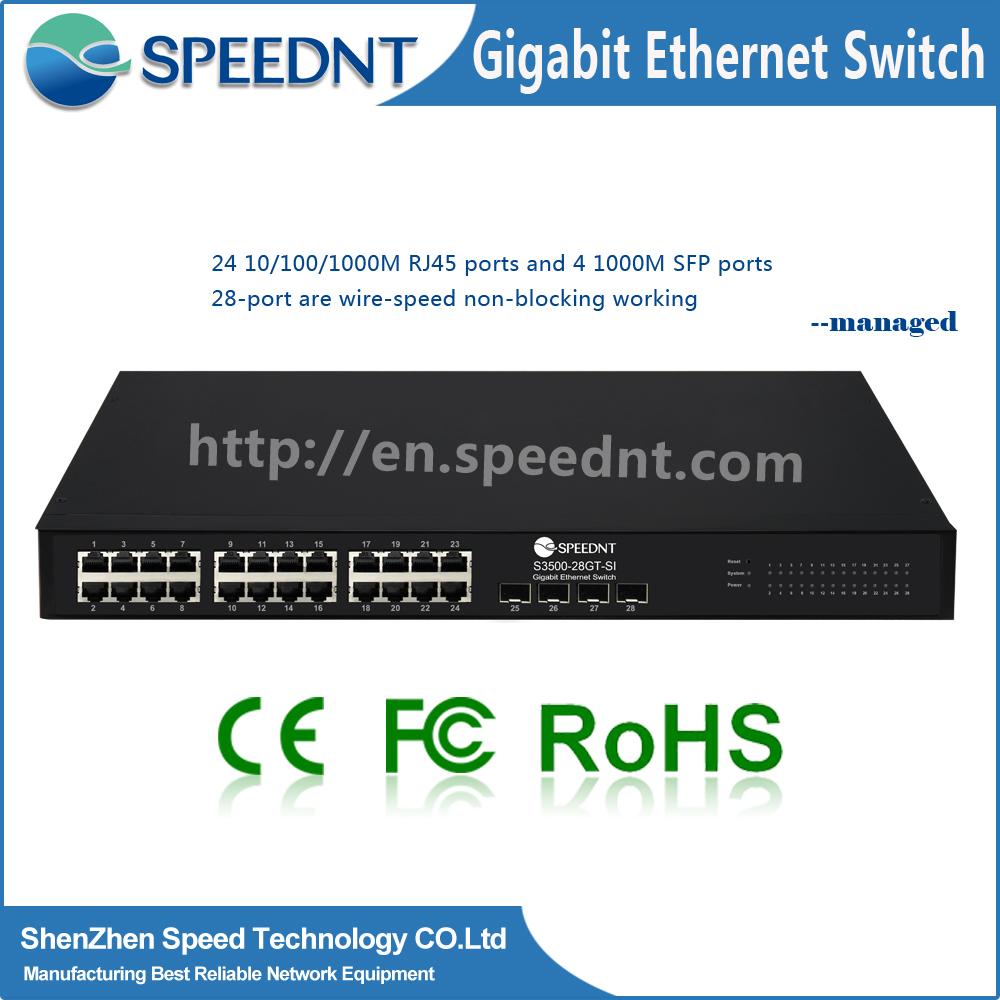 OEM 10/100/1000mbps Ethernet Network Gigabit Switch 24 Port with4SFP port