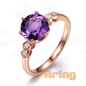 Wholesale 18k Gold Jewelry Amethyst rings solid gold jewelry