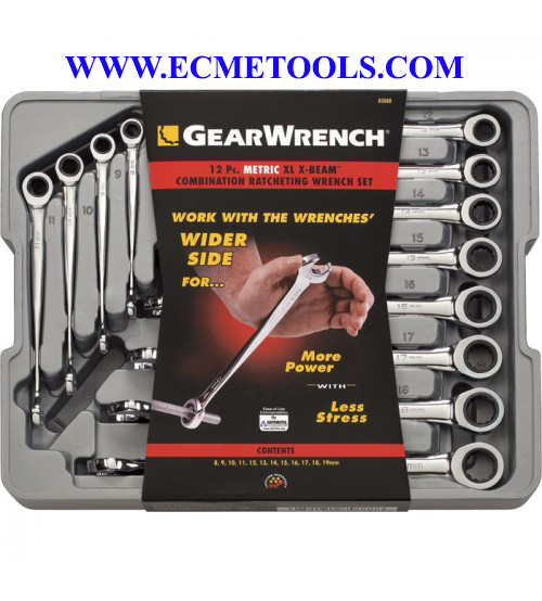 GearWrench Extra_Long XBeam Ratcheting Combination Wrenches_8mm_19mm_12.Pc. Metric Set_Model 85888