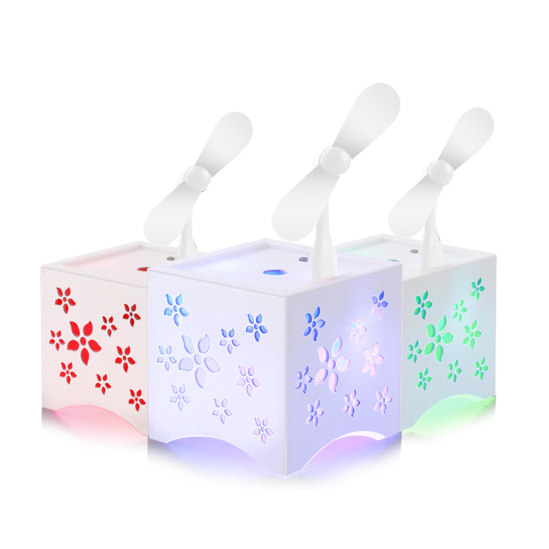 hollow out flower led light cool fan humidifier diffuser essential oil diffuser