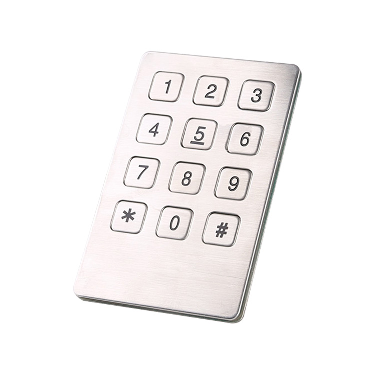3×4 12 keys stainless steel high quality metal keypad for vending machine B721