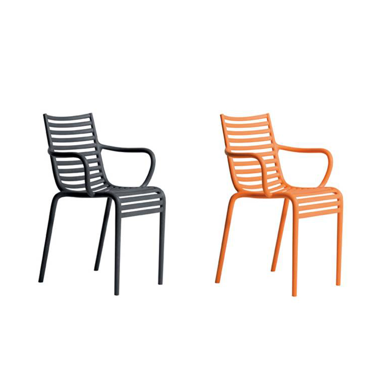 Modern Dining Chair High Back Stackable Plastic Armchair
