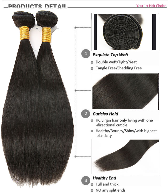 Wholesale Cheap High Quality Straight Hair Brazilian Virgin Human Hair Extension