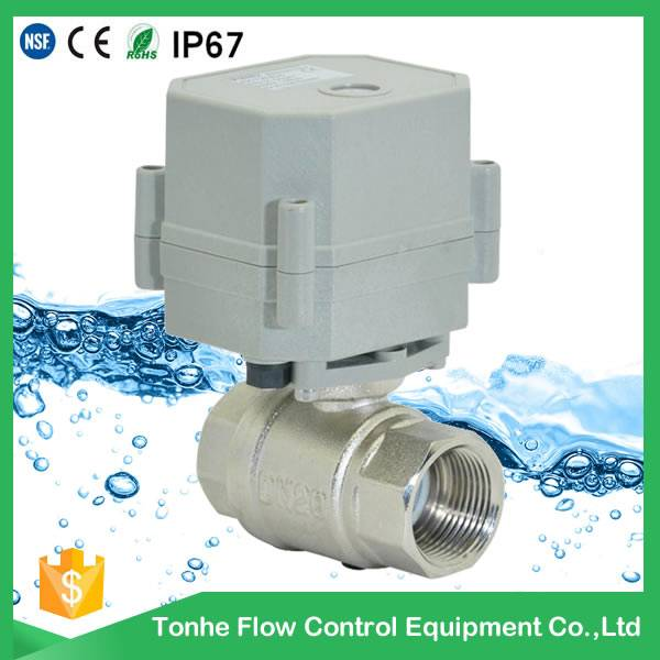 Tonhe DN20 AC230V NSF61, auto brass nickel plated electric water shut off valve
