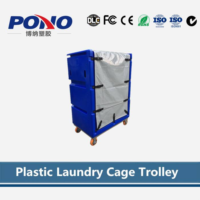 3 Tiers Plastic Laundry Cage Trolley With Strong And Durable Wheels,Used As Hotel&Laundry Center Clo