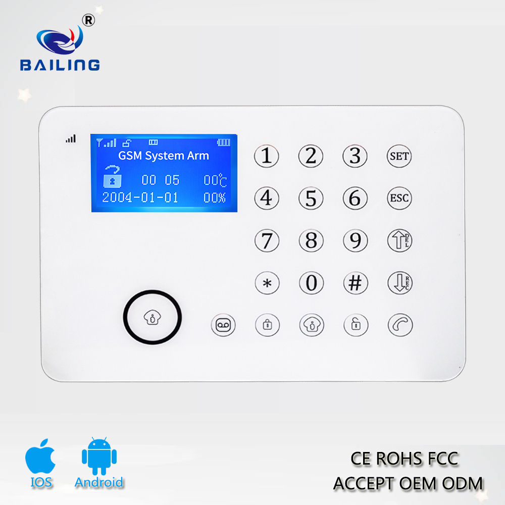 GSM Intelligent Alarm System GSM PSTN TFT LCD Touch Screen BL-911