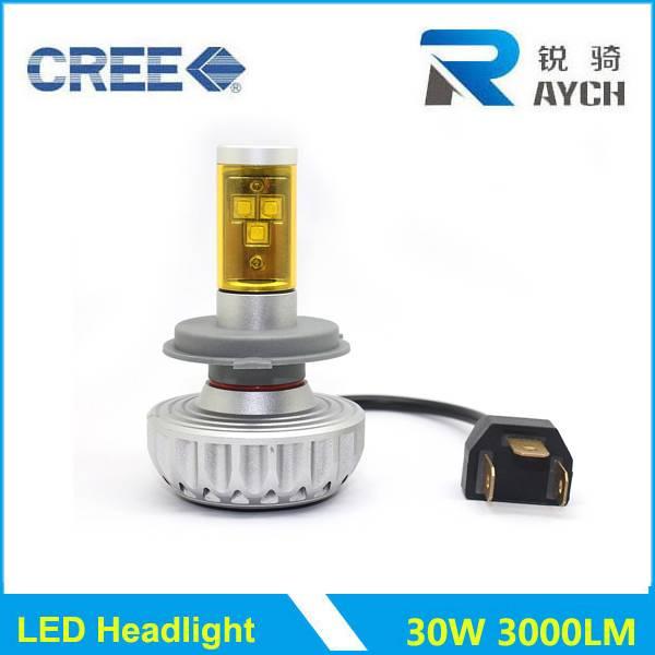 LED headlight H4 30W 3000LM power auto led bulk led lighting 5 color new high bright H1 H3 H7 H8 H11