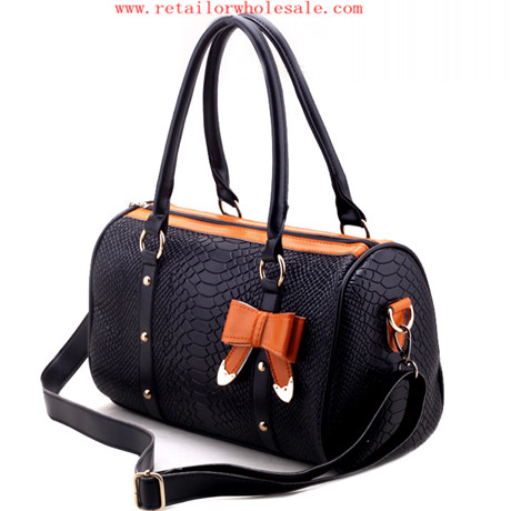 Sell Modern Women's Bowknot Decoration Double Handle Black Snake Pattern Handbag