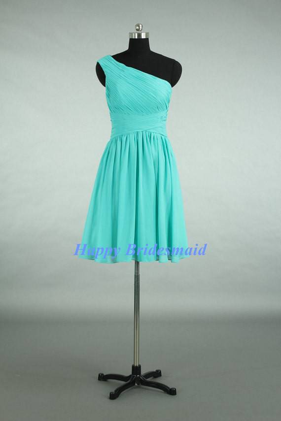 Turquoise Short Knee Length One Shoulder Bridesmaid Dress, Chiffon Wedding Party Formal Dress