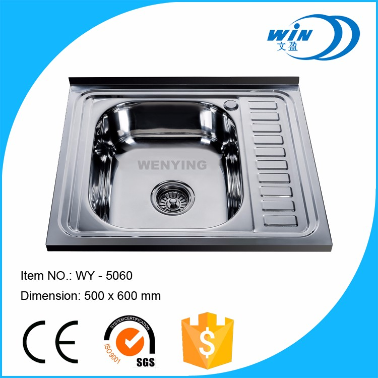 WY-5060 Topmount Stainless Steel Single Bowl Kitchen Sink With Built-In Double Drainboard