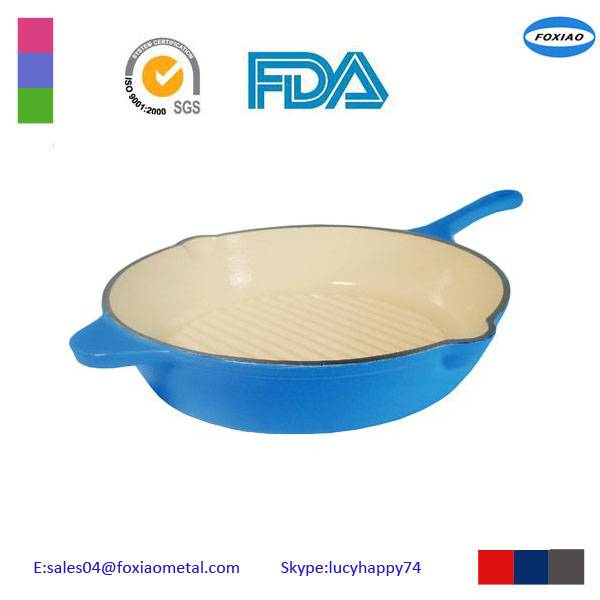 blue color enamel cast iron cookware set