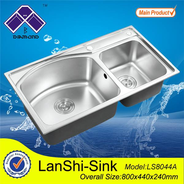 D shape Double bowl stainless steel kitchen sink