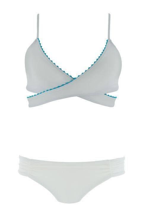 custom design woman triangle swimwear with pom pom