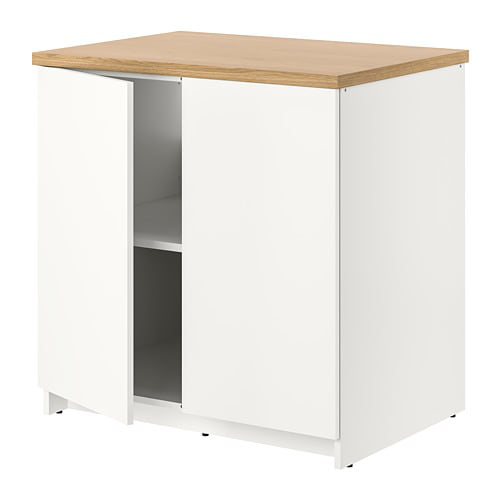 Base cabinet with doors, white