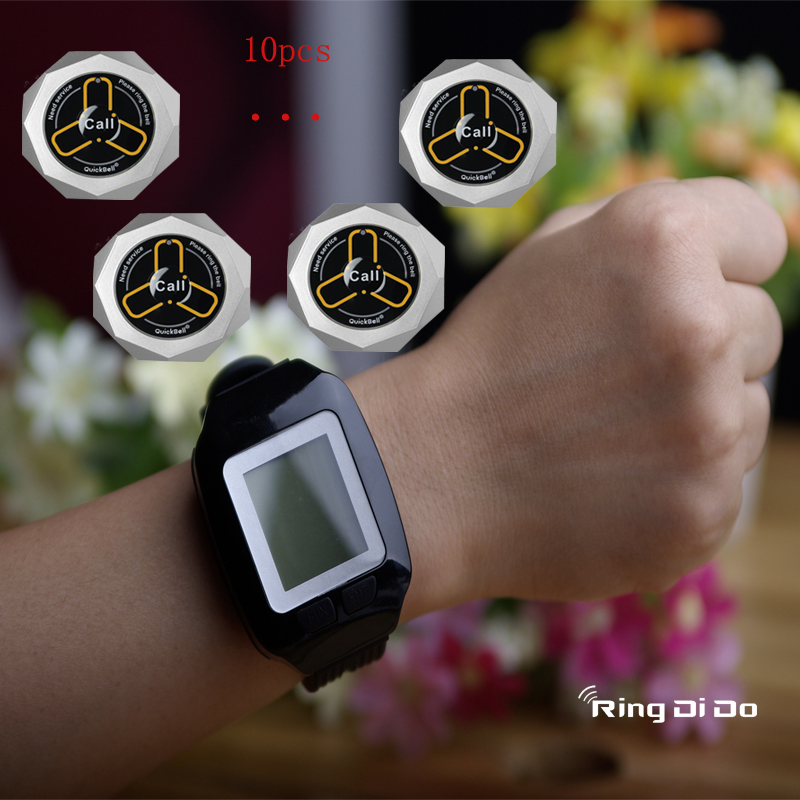 Wireless calling pager,wrist watch be able vibrate and didi voice to note waiter once push button