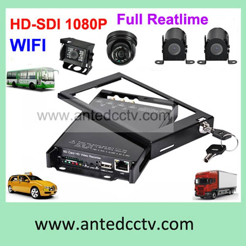 HD 1080P car security system with 4 channel mobile DVR and camera