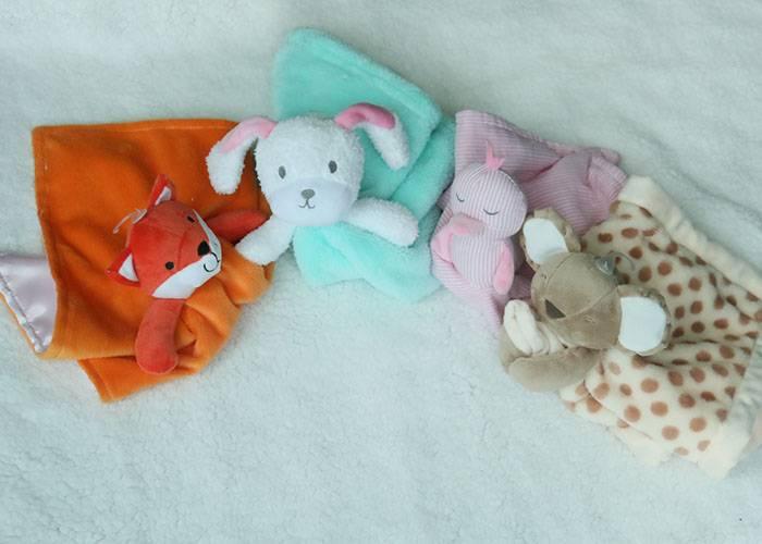 Plush stuffed animal head comforter blanket,security blanket,birth/Christening Gift