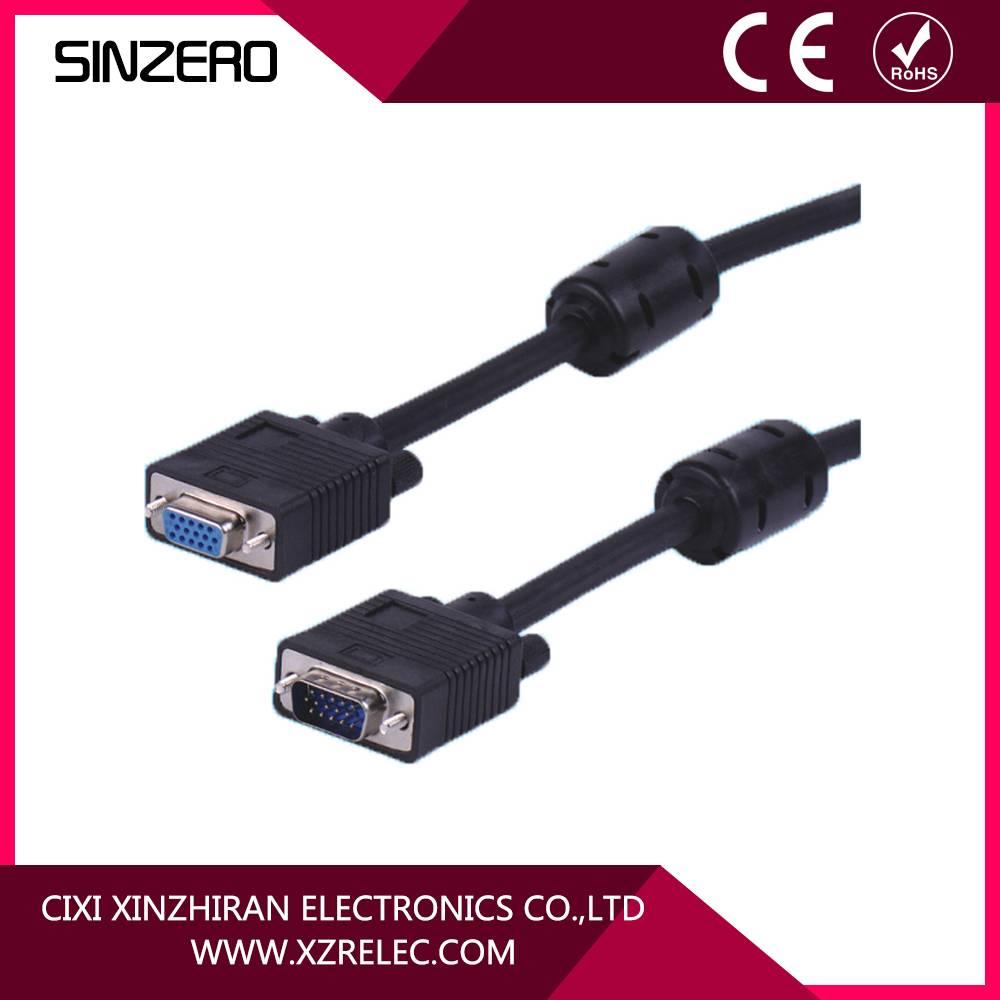 gold plated vga female to vga male cable/short vga cable/vga cable 30m