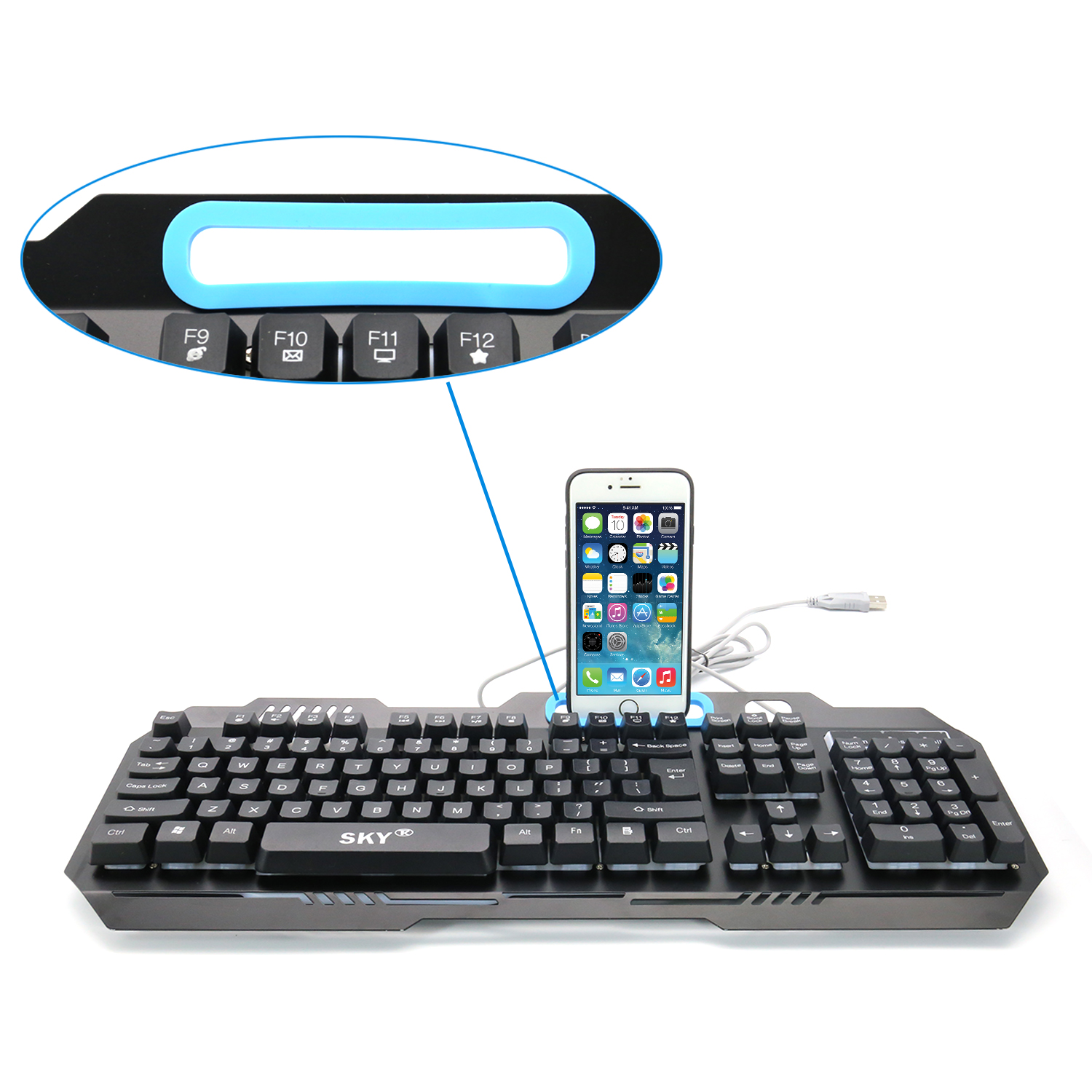 New entry level LED backlight Ergonomic multimedia membrane keyboard for gaming