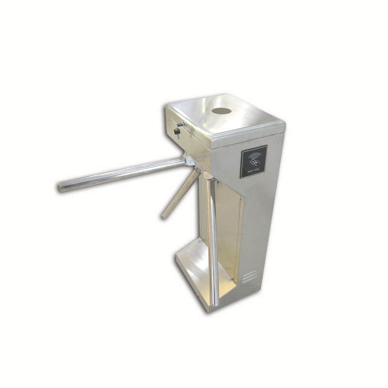 Vertical standard single-way tripod turnstile with QR code