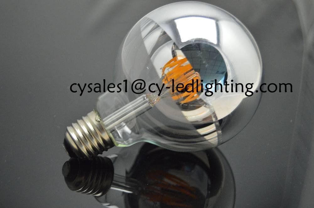 G95 global led bulb filament led silvered bulb half mirror decorate bulb