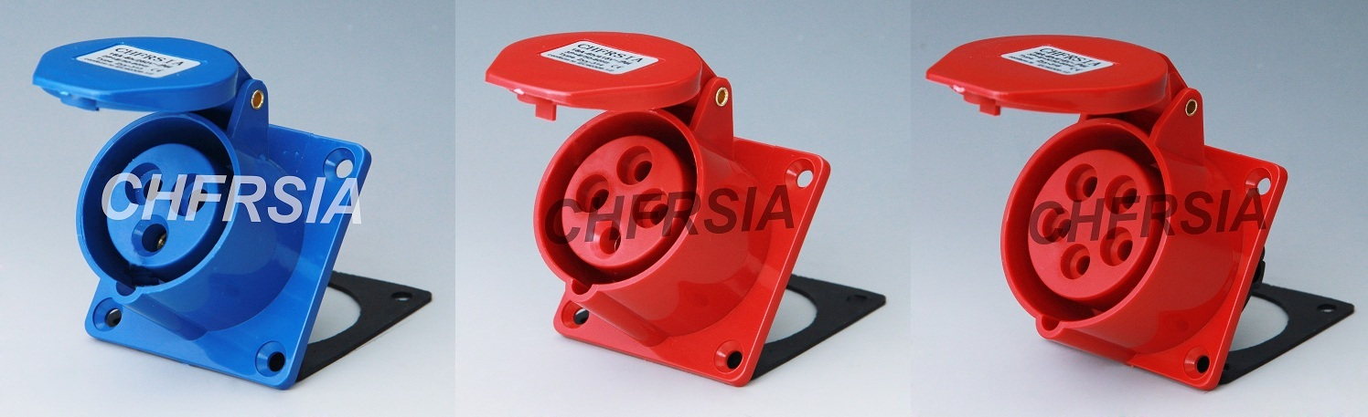 Economic industrial socket(straight) for panel mounting IP44