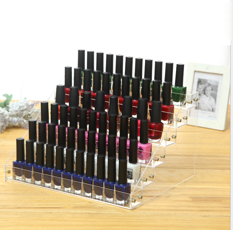 Fashion style Plexiglass step nail polish display rack with 6 tiers