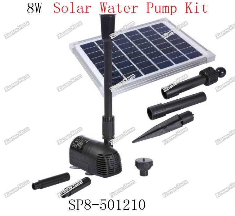 Maximum Pump Head 1.0m (3.3ft) 8W Flow Adjustable Solar Brushless Pump Kit for Fountain