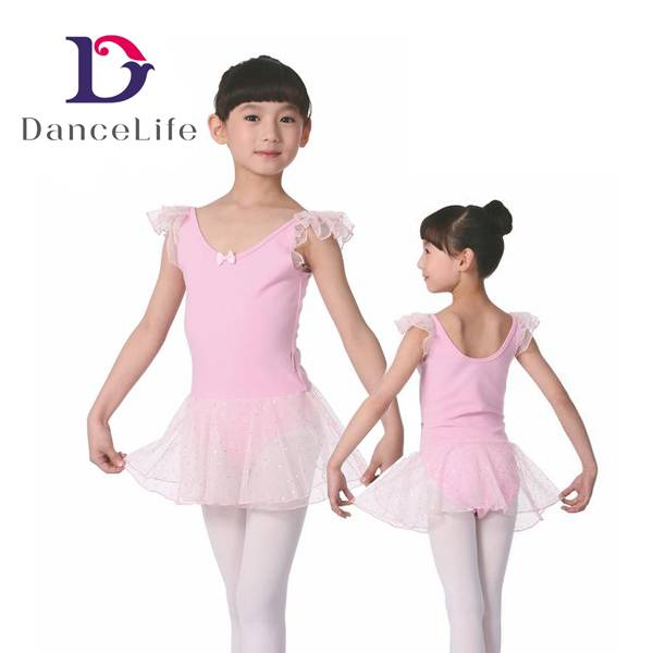 Girl's new spot chiffon ballet dress with bowknot front and round back